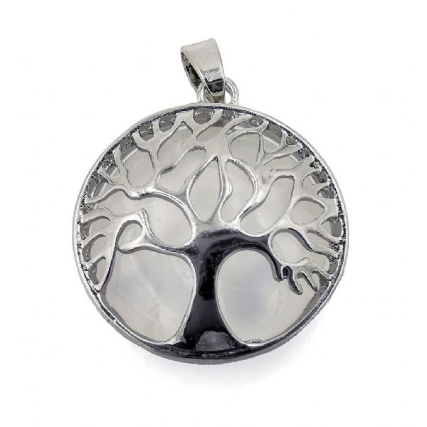 Rhodium Plated Crystal Quartz Tree of Life Pendant 27mm x 31mm